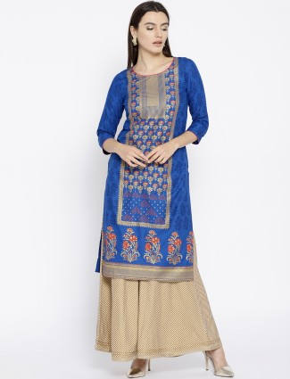 Aurelia blue hue round neck cotton kurti