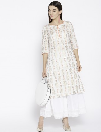 Aurelia Cream color printed kurti