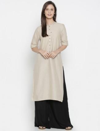 Aurelia cream simple color cotton fabric kurti