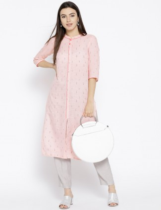 Aurelia Light pink cotton fabric kurti for women
