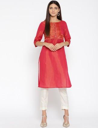 Aurelia Magenta color cotton silk festive kurti