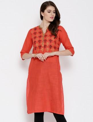 Aurelia orange cotton printed casual wear kurti