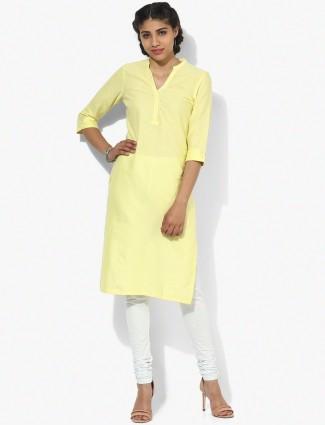 Aurelia plain lime yellow cotton kurti