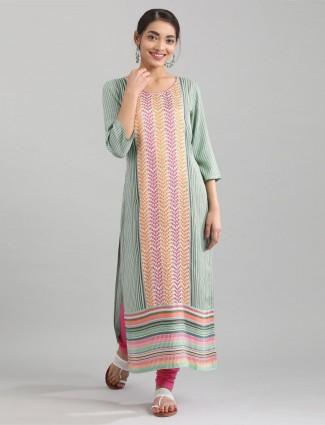 Aurelia quarter sleeves stripe green kurti