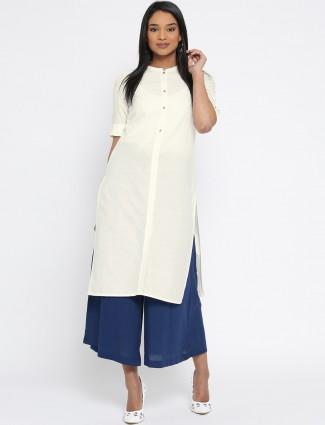 Aurelia solid cream cotton kurti