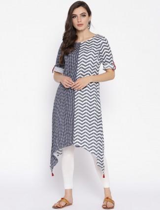 Aurelia  white and blue color designer kurti