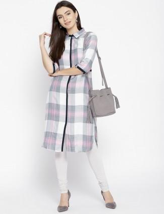 Aurelia White color checked pattern kurti