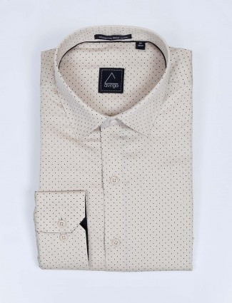 Avega beige color polka dot printed pattern shirt