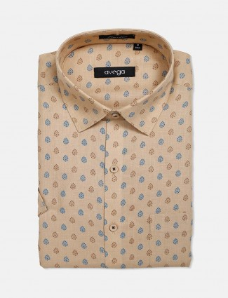 Avega beige printed cotton latest shirt