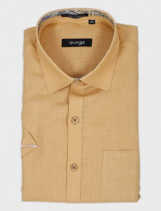 Avega beige solid cotton fabric shirt