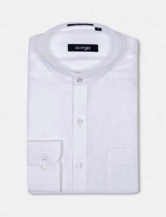 Avega chinese collar white linen shirt