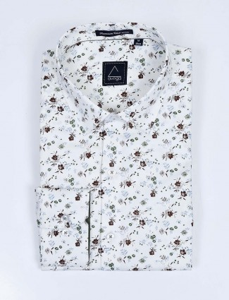 Avega cotton fabric white printed mens shirt
