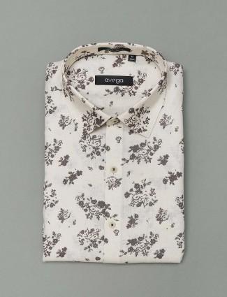 Avega cream printed cotton formal shirt
