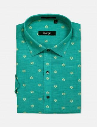 Avega formal green printed shirt