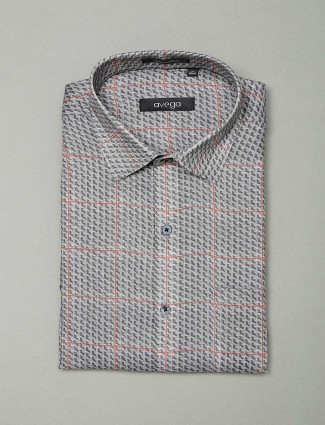 Avega formal wear grey checks pattern shirt