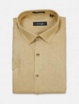 Avega formal wear linen solid khaki shirt