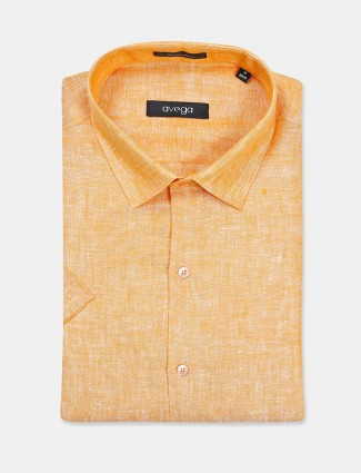 Avega formal wear solid orange linen shirt
