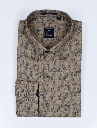 Avega khaki color printed slim fit cotton shirt