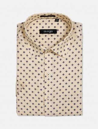 Avega lemon yellow cotton printed shirt