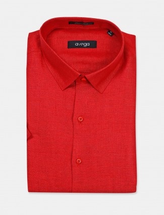 Avega linen red solid slim fit shirt