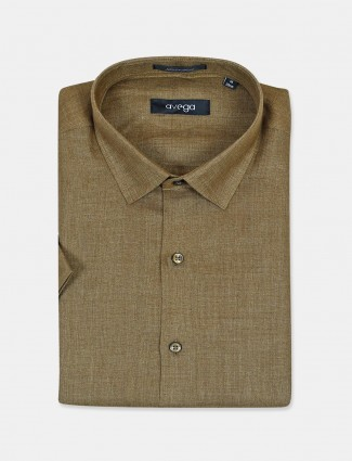 Avega olive solid linen slim fit shirt