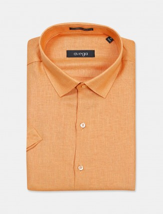 Avega orange solid linen shirt
