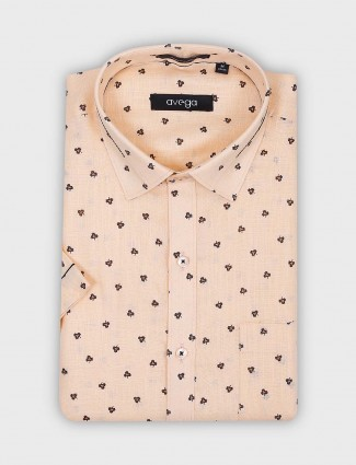 Avega peach printed formal shirt