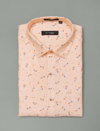 Avega peach printed slim fit shirt