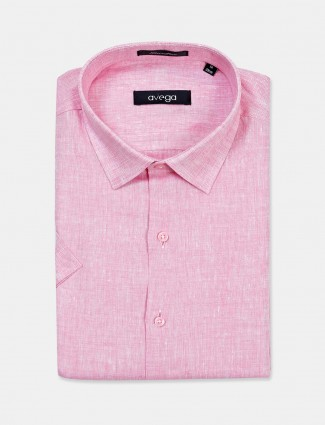 Avega pink solid linen cut away collar shirt