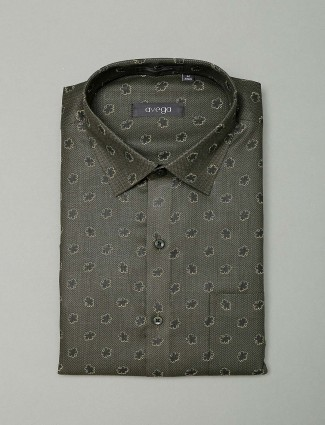 Avega printed olive color cotton fabric shirt