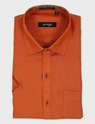 Avega rust orange solid mens shirt