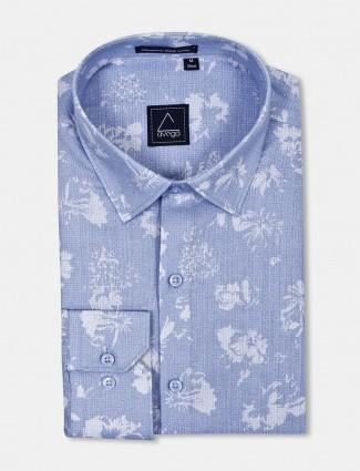 Avega sky blue flower printed mens shirt