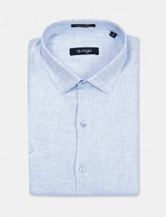 Avega sky blue solid linen latest shirt