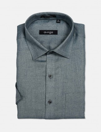 Avega solid cotton linen dark green shirt