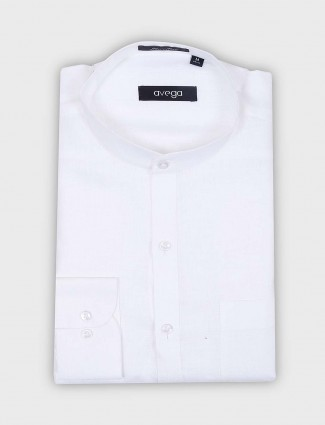 Avega solid white hue chinese collar shirt