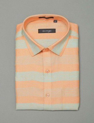 Avega stripe cotton fabric orange shirt