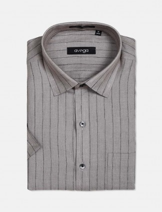 Avega stripe grey cotton linen formal shirt