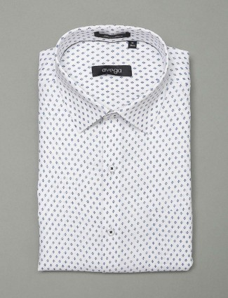 Avega white printed cotton fabric shirt