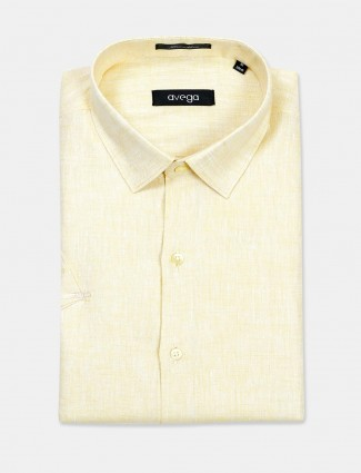 Avega yellow solid half sleeves linen shirt