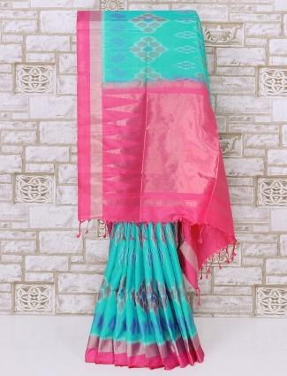 Awesome aqua color patola silk saree