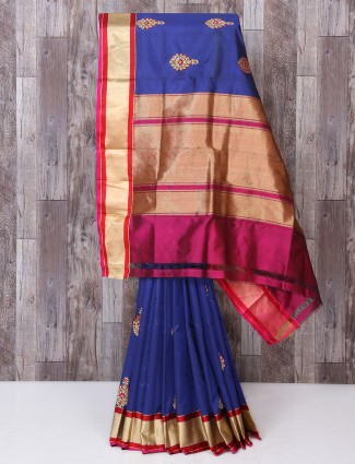 Awesome purple color silk fabric saree