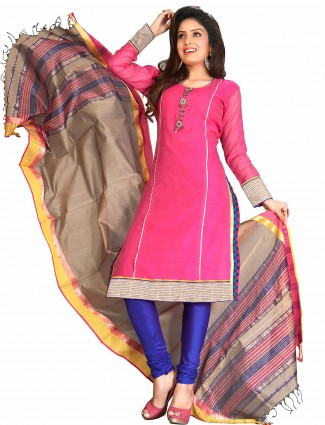 Awesome magenta cotton silk ready made festive salwar suit