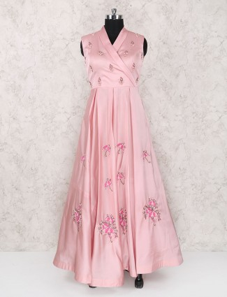 Baby pink color party wear gown