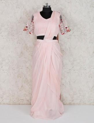 Baby pink designer georgette indo western suit