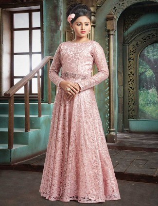 Baby pink designer net gown