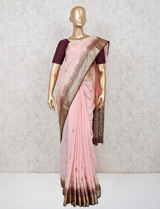 Baby pink dola silk saree for wedding