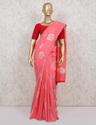Baby pink dola silk saree for wedding days