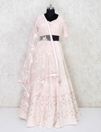 Baby pink georgette designer wedding lehenga choli