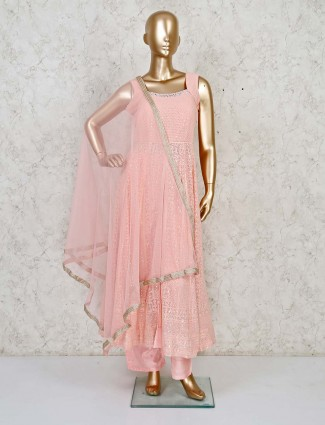 Baby pink Lucknowi anarkali suit for the festivities