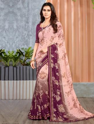 Baby pink printed georgette festive saree